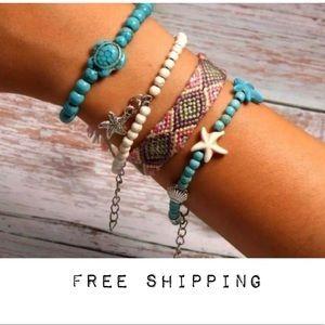 Layered Friendship Bracelet Set Turtles Turquoise